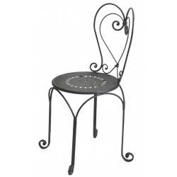 Chaise de Charme en Métal Noir d'Intérieur ou de Jardin Motif Coeur 38x38x86cm