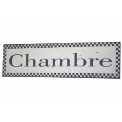 Plaque de Porte ou Murale Décorative en Métal Inscription Chambre Motif Vichy Bleu 9x33cm
