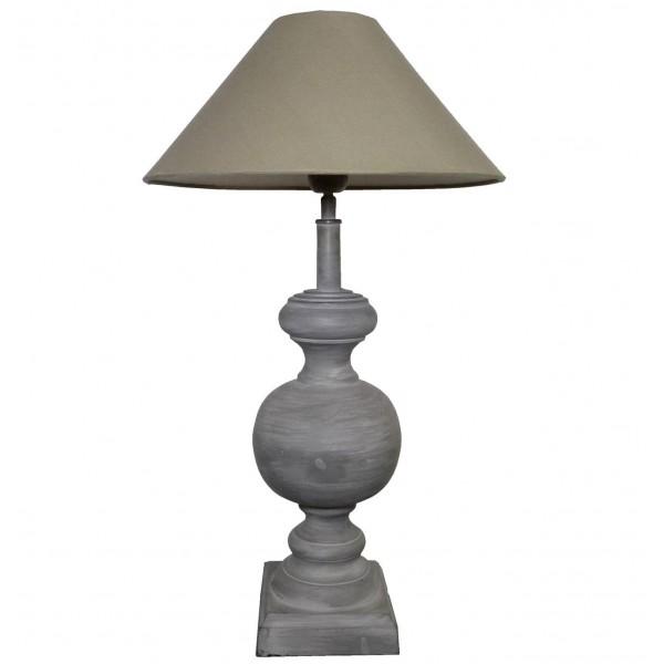 Grande Lampe Electrique à Poser Luminaire de Chevet en Fer Gris avec Abat Jour en Lin 36x36x63cm