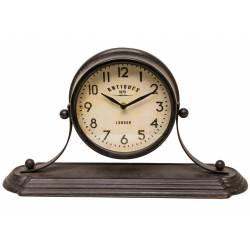 Grande Horloge de Comptoir Style Ancienne Pendule à Poser en Fer Noir 13x28x49cm