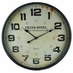 Grande Horloge Murale Pendule Style Industriel Loft en Fer Gris et Verre 7x68x68cm