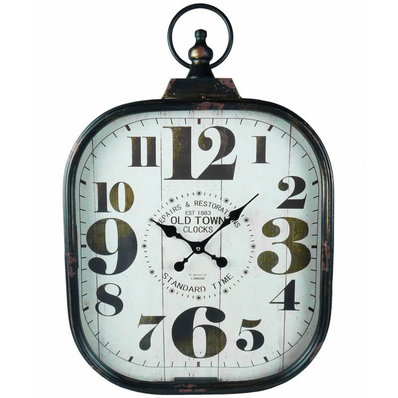 grande horloge murale style ancienne montre a gousset pendule en fer et verre 7x44x66cm l. Black Bedroom Furniture Sets. Home Design Ideas