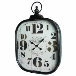 Grande Horloge Murale Style Ancienne Montre a Gousset Pendule en Fer et Verre 7x44x66cm