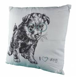 Coussin Motif Chien de Canapé Lit ou Fauteuil en Tissu Blanc Déhoussable I Love Dog 8x45x45cm