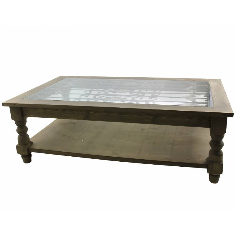 Grande table basse console de salon bout de canap rectangulaire en bois fer - Table de salon bois et verre ...