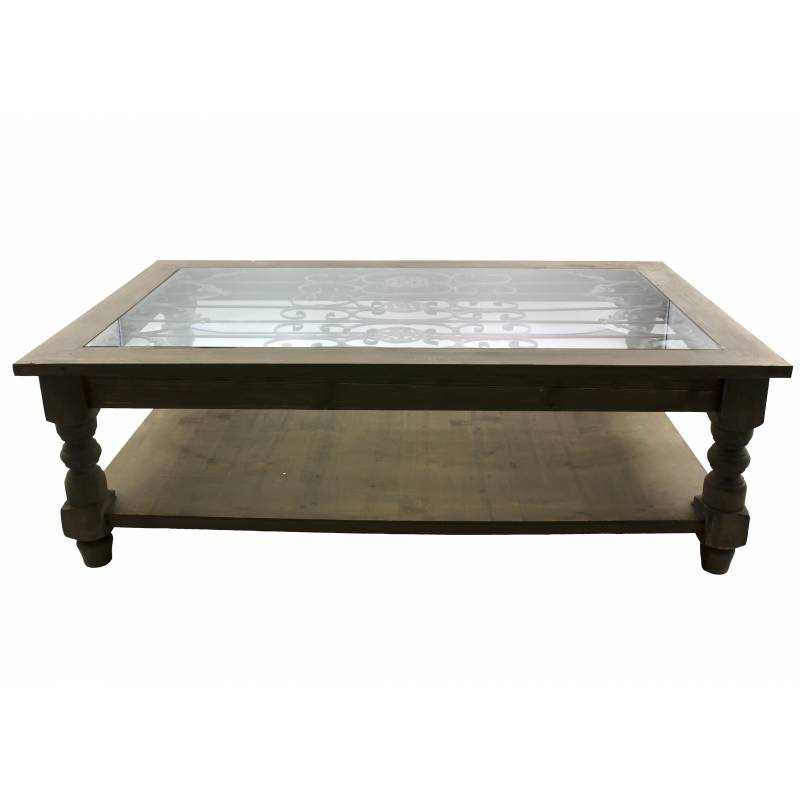 Grande Table Basse Console de Salon Bout de Canapé Rectangulaire en Bois Fer