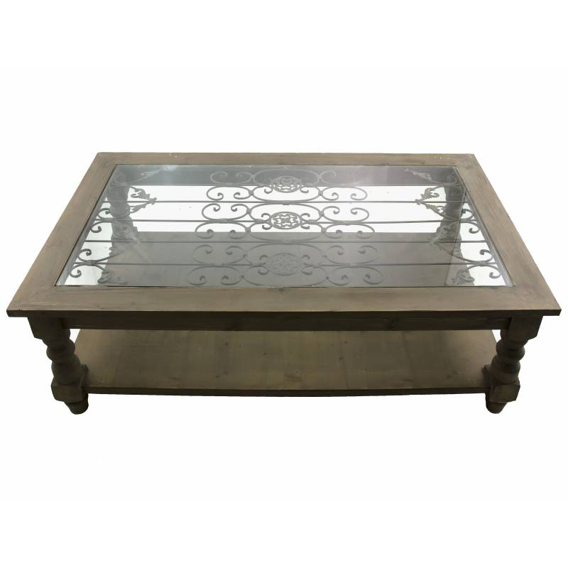 Table basse en bois vitre - Table en verre rectangulaire ...