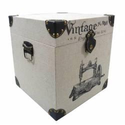 Malle à Jouet ou Coffre de Rangement Bar Table de Chevet en Bois Tissu et Cuir 29x29x31cm