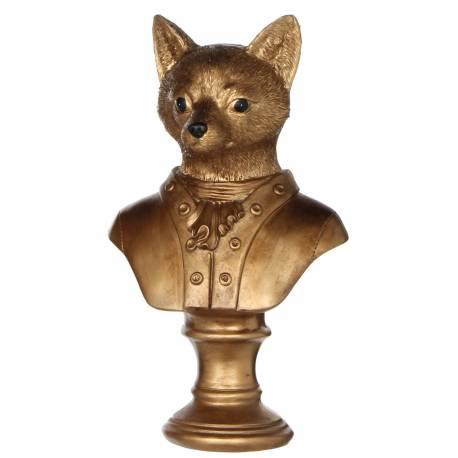Tête de Renard Buste Sculpture Animale Dorée en Résine sur Pied 11x15x27cm