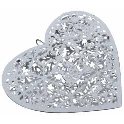 Coeur Décoratif Flocons de Neige à Suspendre 15cm