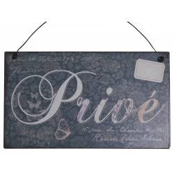 """Plaque Murale Enseigne de Porte Décoration Murale Ecriteau """"PRIVE"""" en Fer Patiné Gris 0,1x10x17cm"""