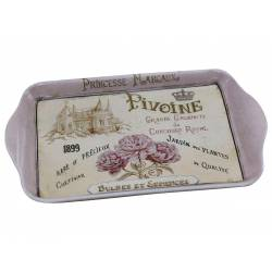 Plateau en Mélamine Rectangle Desserte pour le Thé ou Café Motif Fleuris 1,50x16x50x24cm