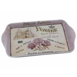 Plateau en Mélamine Rectangle Desserte pour le Thé ou Café Motif Fleuris 2x14x21cm
