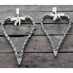 Coeur à Grelots Couronne Décorative en Fer Blanc Décoration Murale ou à Poser 1x20x26cm