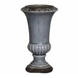Grand Vase Soliflore Pichet Broc en Terre Cuite Emaillée Bleu 14x14x25cm