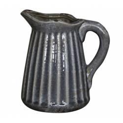 Pichet Vase Soliflore Broc Petit Arrosoir en Terre Cuite Emaillée Bleu 12,5x16,5x17,5cm