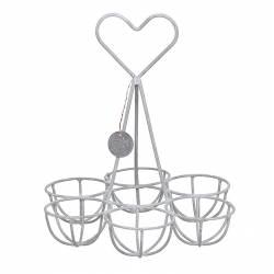 Panier Porte Oeufs en Fer Gris Corbeille de Cuisine à Oeufs au Motif Coeur 15x15x18cm