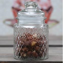Petite Bonbonnière Cylindrique ou Bocal en Verre Strié Pot à Coton Récipient Pot à Dragées Hermétique 8x8x12cm