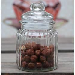 Petite Bonbonnière ou Bocal Cylindrique en Verre Strié Pot à Coton Récipient Pot à Dragées Hermétique 8x8x12cm