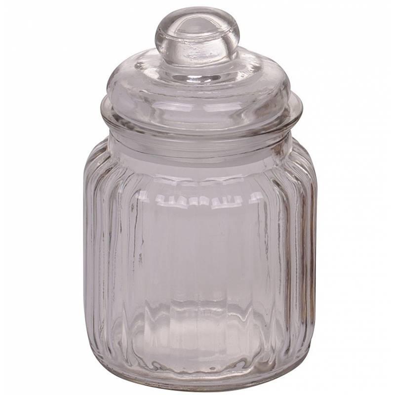 petite bonbonni re ou bocal cylindrique en verre stri pot coton r cipient pot drag es. Black Bedroom Furniture Sets. Home Design Ideas