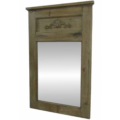 Grand miroir de style trumeau en bois avec frise glace de for Miroir trumeau