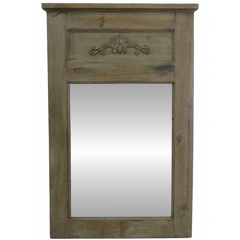 Grand miroir de style trumeau en bois avec frise glace de for Miroir cheminee
