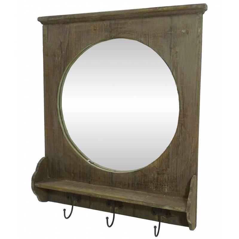 Miroir mural meuble d 39 entr e glace ronde avec 3 crochets for Meuble mural fer