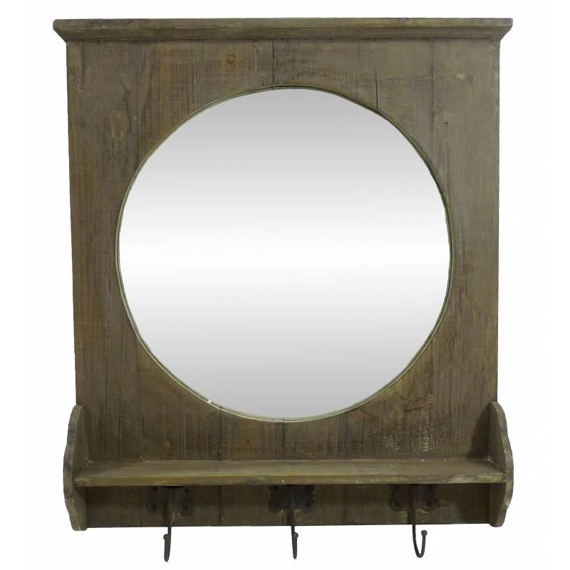 miroir mural meuble dentre glace ronde avec 3 crochets porte manteaux en bois et
