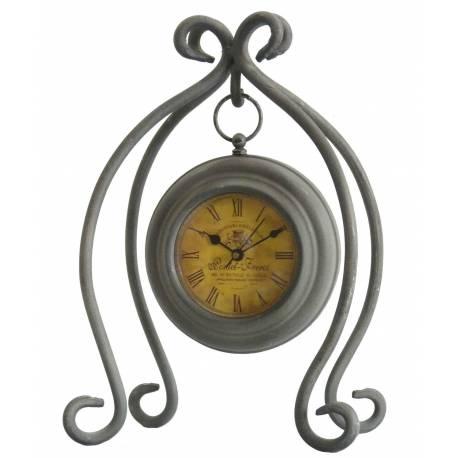 Horloge à Poser Pendule Ronde Suspendue sur Pied en Fer Gris 13x19x28cm