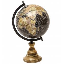 Grande Mappemonde Globe Terrestre Décoratif Rotatif Planisphère sur Pied Carte Ronde 21x23x36cm