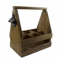 Porte ou Range Bouteille avec Anse 6 Cases Casier de Rangement en Bois et Décapsuleur 17x17x30cm