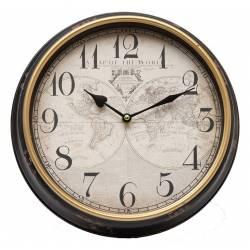 Horloge Murale en Fer avec Vitre en Plexiglass Pendule Thème Mappemonde 6x31x31cm