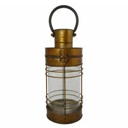 Lanterne à Poser ou à Suspendre Bougeoir Style Ancien Porte Bougie en Métal Zinc Couleur Laiton Globe en Verre 12x12x37cm