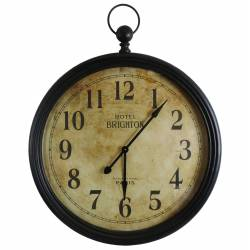Horloge Murale Géante Style Ancienne Montre a Gousset Grande Pendule Ronde en Fer et Verre 7x62x84cm