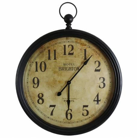 Grande Horloge Murale Géante Style Ancienne Montre a Gousset Grande Pendule Ronde en Fer et Verre 9x95x121cm