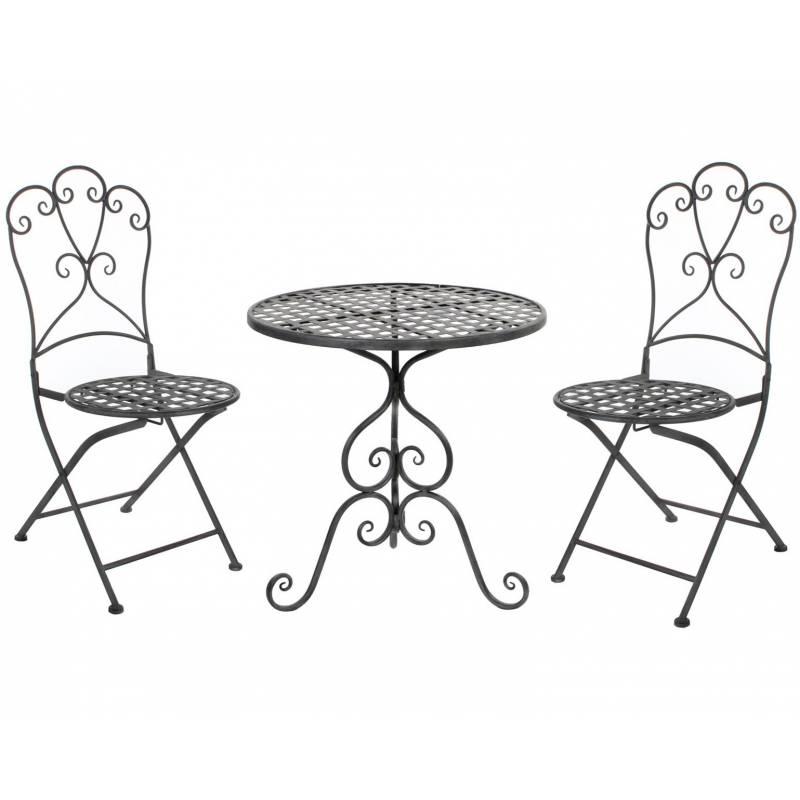 Détails sur Salon de Jardin Salon de The 2 Places Personnes Table Bistrot  et 2 Chaises Plian