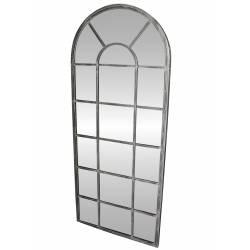 Grand Miroir d'Entrée Géant Style Orangerie en Fer Acier Gris 4x66x159cm