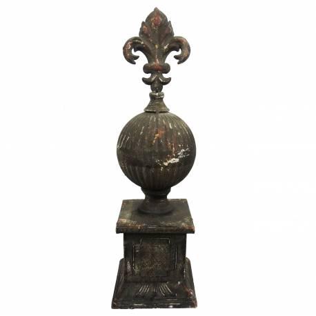 Obélisque Epis de Faitage Décoratif en Fer Patiné à l'Ancienne 9.5x9.5x30.5cm