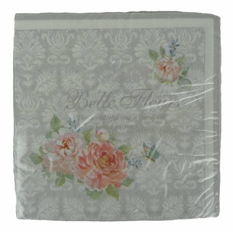 Paquet de 20 Serviettes de Table en Papier Decorées Motif Fleurs Roses 17x17cm