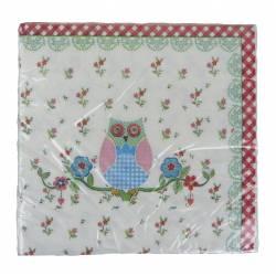 Paquet de 20 Serviettes de Table en Papier Decorées Motifs Hibou Coloré et Fleurs 17x17cm