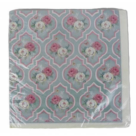 Paquet de 20 Serviettes de Table en Papier Decorées Motif Fleuri et Baroque 17x17cm