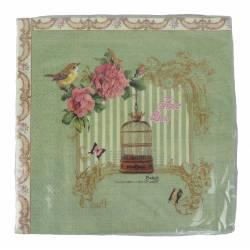 Paquet de 20 Serviettes de Table en Papier Decorées Motif Charme Antique Cage à Oiseaux Papillon Roses 17x17cm