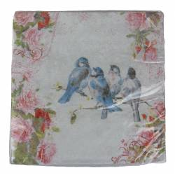 Paquet de 20 Serviettes de Table en Papier Decorées Motifs Oiseaux et Fleurs 17x17cm