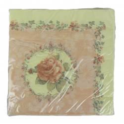 Paquet de 20 Serviettes de Table en Papier Decorées Motif Roses et Fleurs 17x17cm