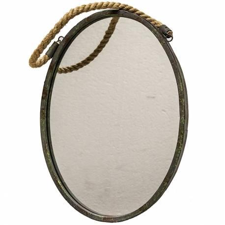 Miroir Mural Glace de Forme Ovale en Fer Patine Marron Gris Vert Façon Hublot avec Anse en Corde 2,50x31x42,50cm