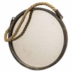 Miroir Trumeau Glace Forme Ovale en Fer Patine Marron Gris Vert avec Anse en Corde 2,5x31x42,5cm