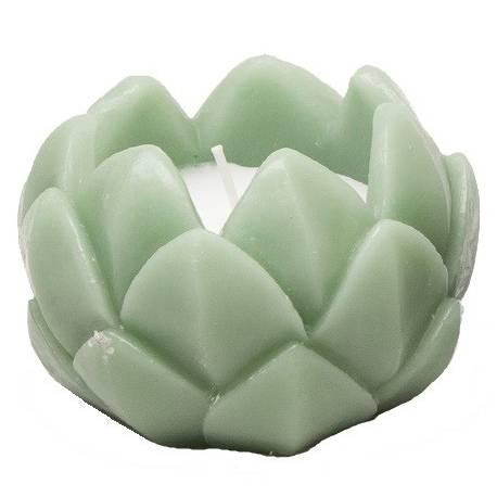 Bougie Fleur Ronde Façon Fleur de Lotus de Couleur Verte 1 Flamme 7,50x11x11cm