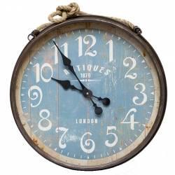 Horloge Géante Murale Style Marin en Fer Patiné Marron Vitre et Corde 7x46,5x46,5cm