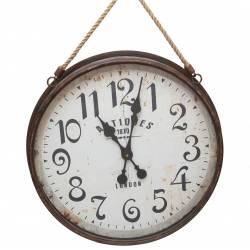 Grande Horloge Ronde Style Brocante en Fer Verre et Corde 7x46,5x80cm