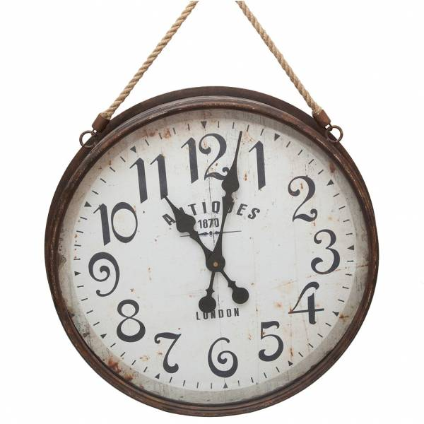 good grande horloge gante ronde pendule vintage style brocante en fer verre et corde xxcm with. Black Bedroom Furniture Sets. Home Design Ideas